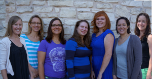 From left to right: Allison Assunto, Amber Pearson, Amy Degner, Heather Roell, Stephanie Rieper, Claudia Ullrich and Kristen Pope.
